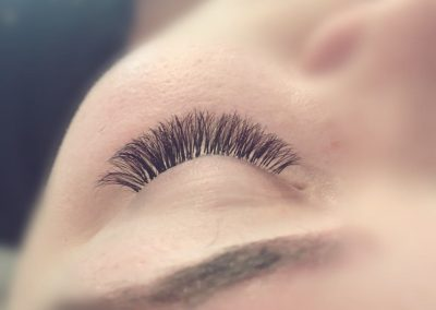 Lash extensions left eye